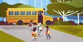 Group Of Mix Race Pupils With Backpacks Walking To Yellow Bus Back To School Pupil Transportation Co poster