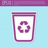 Retro Purple Recycle Bin With Recycle Symbol Icon Isolated On Turquoise Background. Trash Can Icon.  poster