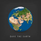 Greeting Card With Earth Day. Vector Illustration Of Our Planet With Words, Save The Earth. Earth Da poster