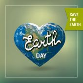 Poster With Earth Day. Earth In Heart Shape With America Continent. Illustration Of Our Planet. Eart poster