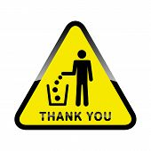 Do Not Litter,  Sign On Yellow Background. People Throw Garbage In The Trash. Inscription Means - Th poster