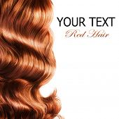 foto of hair streaks  - Red Hair over white - JPG