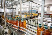 Conveyor Belt Or Line In Beverage Plant With Modern Automated Industrial Machine Equipment. Plastic  poster