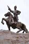stock photo of ulaanbaatar  - Iconic statue of Mongolian hero Genghis Khan in Sukhbaatar Square Ulaanbaatar - JPG