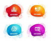 Liquid Badges. Set Of Leaf Dew, Leaves And Hospital Building Icons. Medical Calendar Sign. Water Dro poster