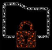 Glossy Mesh Folder Locked With Lightspot Effect. Abstract Illuminated Model Of Folder Locked Icon. S poster