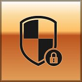 Black Shield Security With Lock Icon Isolated On Gold Background. Protection, Safety, Password Secur poster
