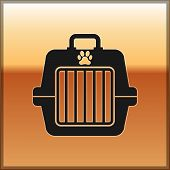 Black Pet Carry Case Icon Isolated On Gold Background. Carrier For Animals, Dog And Cat. Container F poster