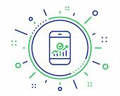 Smartphone Audit Or Statistics Line Icon. Business Analytics With Charts Symbol. Quality Design Elem poster
