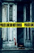 picture of crime scene  - crime scene with an old open door - JPG