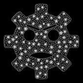 Glossy Mesh Gear Angry Smiley With Glare Effect. Abstract Illuminated Model Of Gear Angry Smiley Ico poster