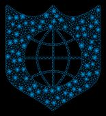 Glossy Mesh Global Shield With Glare Effect. Abstract Illuminated Model Of Global Shield Icon. Shiny poster