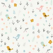 Seamless Childish Pattern With Tiny Birds And Floral Elements. Creative Scandinavian Style Kids Text poster