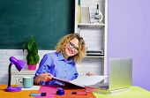 Smiling Female Teacher. Student Studying In The Classroom. Funny Teacher In The Classroom. Teacher.  poster