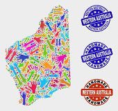 Vector Handmade Combination Of Western Australia Map And Scratched Stamp Seals. Mosaic Western Austr poster