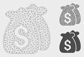 Mesh Funds Model With Triangle Mosaic Icon. Wire Frame Polygonal Mesh Of Funds. Vector Mosaic Of Tri poster