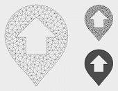 Mesh Forward Up Arrow Marker Model With Triangle Mosaic Icon. Wire Frame Triangular Mesh Of Forward  poster