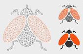 Mesh Fly Model With Triangle Mosaic Icon. Wire Frame Polygonal Mesh Of Fly. Vector Mosaic Of Triangl poster