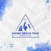 Mountain Broad Peak Logo. Triangular Mountain Blue Vector Insignia. Broad Peak In Karakoram, Pakista poster
