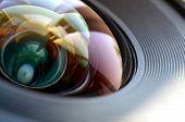 Photo Camera Lens Close Up Macro View. Concept Of Photographer Or Camera Man Job poster