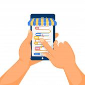 Online Library Shop Concept. Humans Hands And Phone Screen With Stack Of Books. Online Library. Vect poster