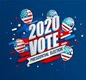 2020 Usa Presidential Election Dynamic Banner. Poster For American Vote. Template For Politic Design poster