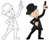 image of mobsters  - Mobster with gun illustration coloring book line - JPG