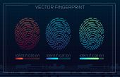 Fingerprint Scanning Identification System In Futuristic Hud Style. Biometric Interface. Recognition poster
