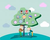 Illustration Of A Family Tree. Parents Grow Their Family Tree. Vector Illustration. poster