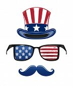 Usa Independence Day Icon Set. 4th Of July. Fourth Of July. Star-striped Sunglasses, Uncle Sams Hat, poster