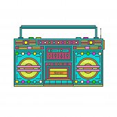 Retro Tape Recorder .stereo System . Drawing  Vector Illustration    . poster