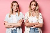 Two attractive sneaky blonde girls wearing summer outfit standing isolated over pink background, arm poster