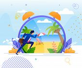 Businessman Hurrying To Rest On Tropical Beach. Huge Cartoon Alarm Clock With Seaside Panoramic View poster