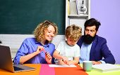 Educational Process. School Family. Happy Family. Boy From Elementary School. Mother Father And Son  poster