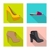 Isolated Object Of Footwear And Woman Sign. Collection Of Footwear And Foot Vector Icon For Stock. poster