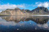 Reflection Of Vestrahorn Mountain In Stokksnes, Iceland poster