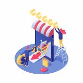 Online Shop Rating Vector Isometric Illustration. Smartphone With Awning And Ranking Stars, Buyer Or poster