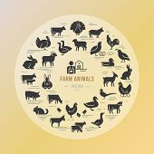 Circular Vector Icon Set In A Flat Style Of Farm Animals Silhouettes. Circular Concept Of Farm Anima poster
