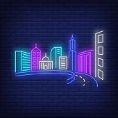 City Buildings And Road Neon Sign. Architecture, Downtown Design. Night Bright Neon Sign, Colorful B poster
