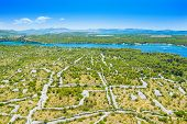 Croatian Adriatic Coast, Beautiful Landscape In Sibenik Channel, Old Agriculture Fields And Turquois poster
