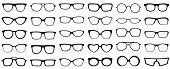 Glasses Silhouette. Retro Glasses, Eye Health Eyewear And Rim Sunglasses Silhouettes. Hipster Or Gee poster