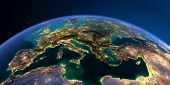 Planet Earth With Detailed Relief At Night Lit By The Lights Of Cities. Europe. Mediterranean Sea. 3 poster