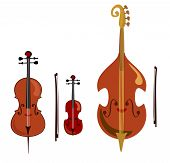 Violin, Cello And Double Bass. Stringed Music Instruments poster