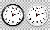 Realistic Office Clock. Wall Round Watches With Time Arrows And Clock Face Isolated 3d Vector Black  poster