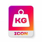 White Weight Icon Isolated On White Background. Kilogram Weight Block For Weight Lifting And Scale.  poster