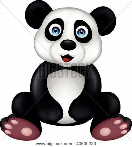 Funny panda cartoon sitting