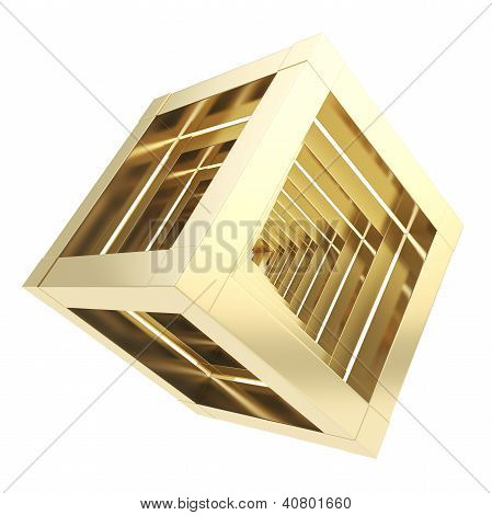 Abstract Golden Cube Composition Isolated