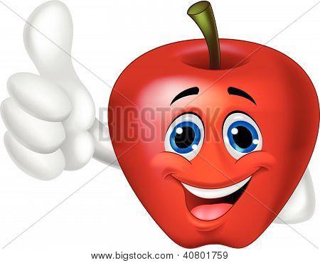 Apfel-Cartoon mit Daumen