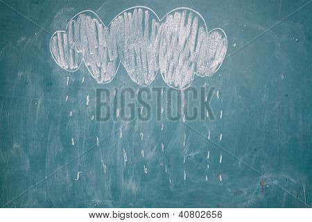 Drawing Of Rain Falling From Cloud On Chalkboard