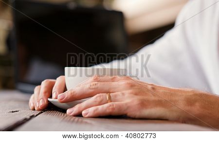 Close Up Image Man Hands With Cup Of Coffee